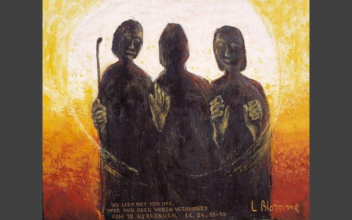Deze verbeelding van het Emmausverhaaal is van Luc Blomme en is geleend van de website van de dominicanen in Knokke, België. Klik op het schilderij voor meer werk van hem.
