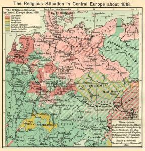 Duitsland en Nederland in religieus opzicht, rond 1618. Klik om te vergroten.