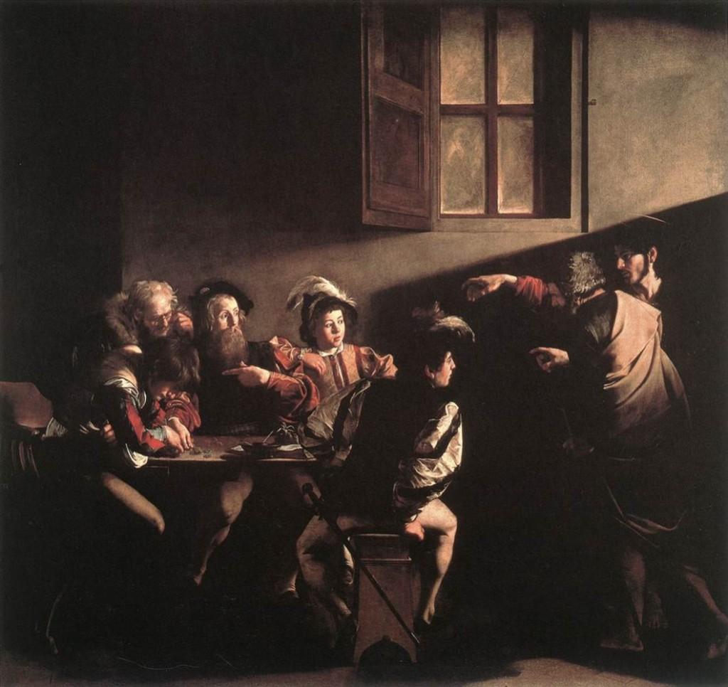 Schilderij van Caravaggio (1573-1610) over de roeping van de tollenaar Mattheüs (Mattheüs 9:9), die toen nog Levi heette. Levi is verbaasd: 'wie, ik?' lijkt hij te zeggen. Het licht valt op zijn gezicht. Klik op de afbeelding om te vergroten.