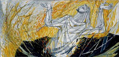 Verrijzenis, door Ted Felen. Hangt in de Dominicuskerk in Nijmegen.