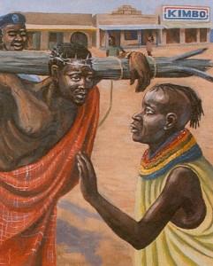 Een Afrikaanse verbeelding van Jezus op weg naar Golgotha.