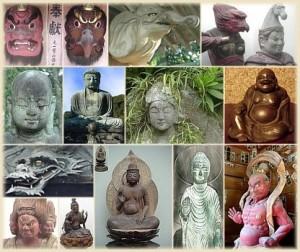 enkele van de vele boeddhistische en shintoïstische Japanse (half)goden.