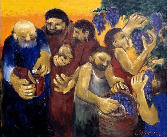 De werkers van het elfde uur. Verbeelding van Luc Blomme. Bron: Dominicanen Knokke, België.