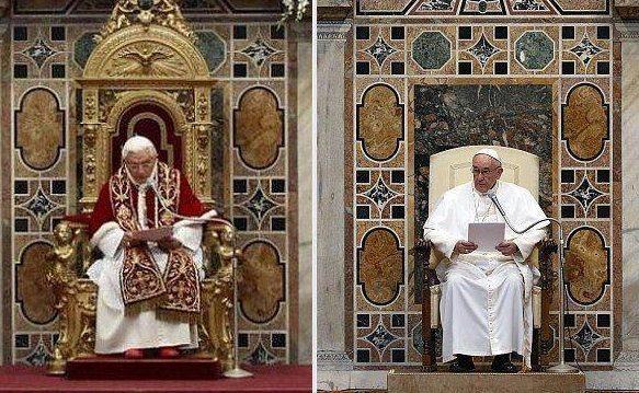 """'De paus is misschien wel het meest vorstelijke staatshoofd. Een vreemde combinatie van dienaar en """"zijne heiligheid"""".' Op de foto: Benedictus XVI (links) en zijn opvolger Franciscus."""