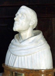 Buste van Dominicus, met moderne methoden gereconstrueerd vanaf de vormen van zijn schedel.