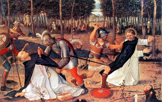 De moord op Petrus van Verona en zijn metgezel, verbeeld door Giovanni Bellini, 1509