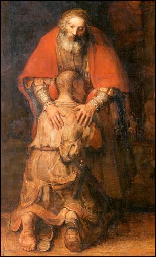 Rembrandts verloren zoon en vergevende vader. Het Bijbelse beeld voor schuld vergeven gaat niet over geld of moraal, maar over elkaar leven geven.